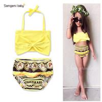 Wholesale Toddlers Bathing - Samgami Baby Two-piece Bikini Swimwear Big Bow Infant Toddler Girls' Bathing Yellow Geometric Printed Sling Swimsuits