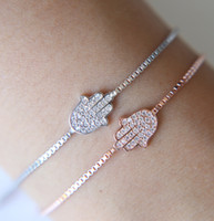 Wholesale white gold friendship bracelets - Lovely Original silver Jewelry 925 Sterling Silver Hamsa Women Bracelet Crystal Link Chain Friendship hand Brcaelet for Women Bijoux gift