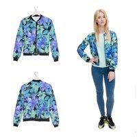 Wholesale Mint Coat - Fashion Women Bomber Jacket Printing Blue Mint Flowers Chaquetas Mujer Fashion Slim Jackets Outwear for Women Basic Coats