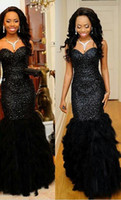 Wholesale Long Corset Feather Dress - robe longue soiree Noble Black Feather Evening Dresses Luxury Sequin Bling Formal Gowns Corset Mermaid Long Elegant Prom Dress