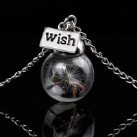 Wholesale Natural Seeds Jewelry - Glass bottle necklace Natural dandelion seed in glass long necklace Make A Wish Glass Bead Orb silver plated Necklace jewelry