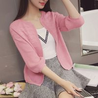 Wholesale Womens Sweater Shawl - Wholesale- Spring clothes new women thin coat Korean sweater thin cardigan shawl air conditioning womens knit cardigan