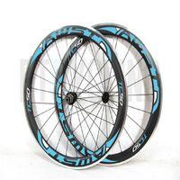 Wholesale Black Road Bike Rims - AWST New style 50mm black blue alloy carbon wheels rims set 700C Clincher matte glossy road bike carbon wheelset with powerway hubs