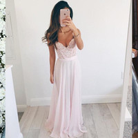 Wholesale Evening Gowns Lace Pink - Delicate Dusty Pink Lace Chiffon Evening Dress Spaghetti Sweetheart Prom Gown Beach Bridal Dresses Floor Length Zipper Back Bridesmaid Dress