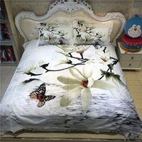 Wholesale 3d Butterfly Comforter Set - Santa claus gift 3d bedding sets butterfly petals white duvet cover sets queen size include duvet cover bed sheet pillow cases
