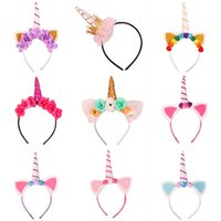 Wholesale Tiara Cat Ears - Baby Fashion Unicorn Tiaras for Festival Halloween Lovely Cat Ears Girls Hair Sticks Kids Hair Bow Headband