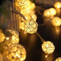 Wholesale Wicker Balls Wholesale - Wholesale- 5M 20led Warm White Rattan Ball Wicker String Lights Fairy Lamp Wedding Christmas Festival Party Fairy Decoration Light FULI