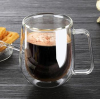 Wholesale Transparent Coffee Set - Heat-resistant double glass coffee cups Set tea mugs Handmade Creative Beer Mug Drink a Mug of office Transparent Drinkware High