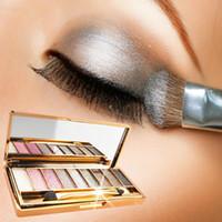Wholesale makeup for blue green eyes - 9 Colors Diamond Bright Shining Colorful Eyeshadow Eye Shadow Palette Makeup Eye shadow flash Cosmetic Brush Set For women
