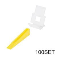 Wholesale Clip Tiles - 100pcs Yellow Wedges + 100pcs White Flat Clip Spacers, Anti-lippage Tile Leveling System HS892-SZ