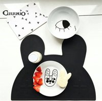 Wholesale Utensils For Baby - Wholesale- New Utensil Mats Heat Resistent Silicone Rabbit Bear Shaped Placemat For Kid Baby Tableware Mat BPA Free Table Decor Accessories