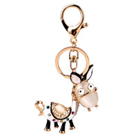 Wholesale Donkey Key Chain - 2017 Donkey imitation diamond gold key chains alloy weave bell penden bohemia Creative bag pendant creative key chain for women jewelry