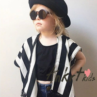 Wholesale Short Sleeve Girl Cardigan - Mother and dauther clothes INS style girls womens stripe short sleeve shawl womens cardigan outwear 2017 summer family beach clothing T3534