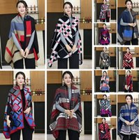Wholesale Capes Shawls Ponchos For Women - 14 Colors 180*65cm Plaid Poncho Cashmere Scarf Patchwork Ladies Winter Cape Poncho Wrap Winter Shawl Blanket Cloak For Women PPA717