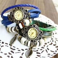 Wholesale Retro Womens Leather Wrist Watch - Women Wrist Watch High quality Retro Quartz Watches Fashion Weave Wrap Around Leather Bracelet Bangle Womens Tree Leaf Girl Watch