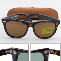 Wholesale Designer Brown For Sale - 1pcs Vassl hot sale sunglasses men brand designer green glasses sunglasses TortoiseHinge Meta Frame Brown lenses 54mm UV400 For box