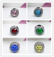 Wholesale Big Diamond Charm Bracelet - DIY 925 Sterling Silver Retro Hollow With Opal Round Beads Set Diamonds Big Hole Charm Bead Fits European Jewelry Charm Bracelets