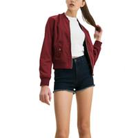 Wholesale Women Plus Size Baseball Jacket - Wholesale- women casual brief Bomber jacket long sleeve plus size flight jacket casual coat 3 colors baseball ladies punk outwear CT1212