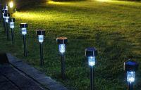 lumières vertes d'aménagement paysager solaire achat en gros de-10pcs / lot Energie solaire extérieure RVB en acier inoxydable, blanc chaud, blanc, vert, rouge, bleu, LED, paysage, chemin, allée, lampe de pelouse ZJ0065