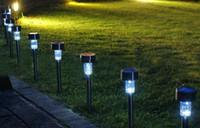 Wholesale blue garden path solar lights resale online - 10pcs Outdoor Stainless Steel Solar Power RGB Warm white White Green Red Blue LED Garden Landscape Path Pathway Lights Lawn Lamp ZJ0065