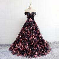 2019 Nuevo Diseño Fuera Del Hombro Vestidos De Baile Vestido De Noche Patrón De Flores Vestido De Fiesta Fiesta De Quinceañera