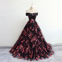 patrones de vestido de quinceañera al por mayor-2019 Nuevo diseño fuera del hombro Vestidos de baile Vestido de noche Patrón de flores Vestido de fiesta Fiesta de quinceañera