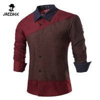 Wholesale Cheap Long Sleeves Shirt - Wholesale- Men Shirt Long Sleeves 2016 Brand Shirts Men Casual Male Slim Fit Spell color Chemise Mens Camisas Dress Shirts Cheap clothes