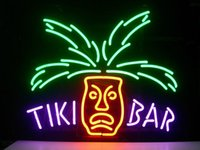 luces tiki bar al por mayor-letrero de neón TIKI BAR PARADISE PALM tubo de vidrio real hecho a mano bar club de cerveza en la pared sala de juegos