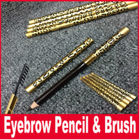 Wholesale Colors Pencil Case - Professional Make-up Eyebrow Pencil With Brush Waterproof Leopard Eyebrow Pencil & Brush Metal Casing Two Sides Eyebrow Comestic 5 colors