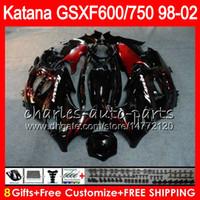Wholesale abs kits - 8 Gifts For SUZUKI KATANA GSXF600 GSXF750 98 99 00 01 02 7HM12 GSX750F GSX600F gloss black GSXF 750 600 1998 1999 2000 2001 2002 Fairing Kit