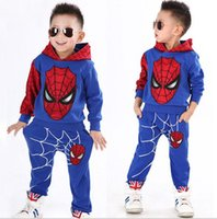 Wholesale Set Boy Spiderman - 2017 Boys Childrens Clothing Sets Spiderman Hoodies Tops Pants 2Pcs Set Spring Autumn Long Sleeve Kids Outwear Boutique Enfant Clothes Suit