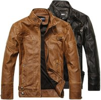 Wholesale Genuine Leather Jackets For Mens - Leather Jackets For Men Outdoor PU Fall Winter long Motorcycle Shell leather with Velvet denim Mens Jackets Outerwear