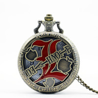 Wholesale Pocket Dial - Wholesale- PB209 Bronze Vintage Hollow DEATH NOTE Quartz Pocket Watch Dial Pendant Necklace Chain Men Women Pocket Watch Gift Reloj