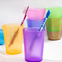 3D Durable Square Tumbler Candy Color Plastic Couple Copos Transparente Tooth Mug 6 cores Top Quality