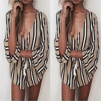 sexy mini barboteuses achat en gros de-Femmes Casual Sexy Deep V-Neck Print Party Jumpsuit Shorts Plage Sun Rompers Mini Combishort