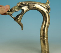 ZSR 67110514 +++ Big Chinese Old Brass Handmade Carved Dragon Collect Statue Walking Stick Head