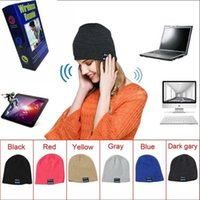 Wholesale Earphone Speaker Headphones - Wireless Bluetooth Headphone Headset Earphone Hat Speaker Knitted Beanie Hat Cap With Package 6 Colors 50pcs OOA2980