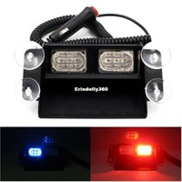 Wholesale Police Super Light - Super Bright 6 LED Strobe Flash Warning Lights Car Styling 6W Red Blue Fireman Police Beacon Emergency Lamp With Multiple Modes