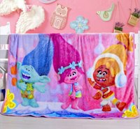 Wholesale Baby Coral Fleece Fabric - 2017 Hot Kids Cartoon Blanket Trolls Blanket Flannel 140*110cm Baby Towels