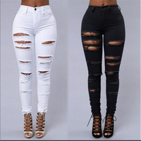 Wholesale torn women jeans - Wholesale- Women ripped jeans High Waist Torn female club denim pants Hole Knee Skinny Pencil jean destroyed trousers For girl club wear