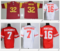 Wholesale Kaepernick Jersey Xxl - USC Trojans #32 O.J Simpson American College Football Stitched Embroidery SF #7 Colin Kaepernick 16 Joe Montana Elite Mens Sports Jerseys