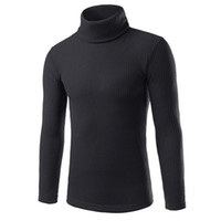 Wholesale Hooded Blouse - Wholesale- Newly Stylish Fashion Casual High-collar Men's Cotton Thick Sweater Tops Blouse Solid Turtleneck Slim Mens Pullover No153