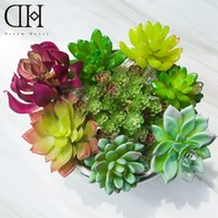 Wholesale Garden Christmas Ornaments - DH real touch lotus succulents series fake Fleshy Botany Green Planting artificial flowers ornaments diy garden decoration