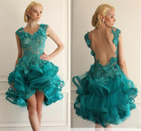 Wholesale emerald ruched dress - 2017 New Emerald Green Short Prom Dresses Appliques Lace Tiered Organza High Low Cheap Backless Prom Dress Formal Party Gowns Custom Made