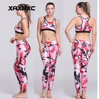 Wholesale White Sexy Leggings Tops - NEW HI-Q 8920 Sexy Girl leggins stripe camouflage Pink Printed Two Piece Women Leggings Crop Top Vest Fitness Workout Suit Sets