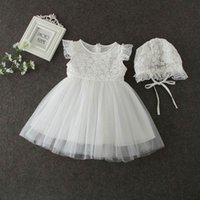 Wholesale Wholesale Sashes For Gowns - Lace Birthday Dress For Baby Girl Summer Infant Toddler Thin Birthday Dresses With Hat Girls Clothing Christening Gowns E9678