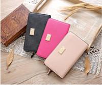Wholesale New Women S Leather Wallet - 2017 New PINK South Korea Envelope Women 's Scrub leather long multi - card wallet wallet simple wallet card package