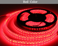 Wholesale glue led strip - Wholesale- LED light 2835 red DC12V 5M 60led=1 meters 300led=5 meters=1roll 3led=1 scissor Flexible Glue waterproof IP65 led strip 2835