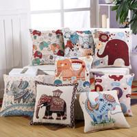 indien elefanten großhandel-Netter buntes Indien Elephant Pillowcase Kissenbezug Baumwolle Leinen Stuhl-Sitz und Taille Platz 45x45cm Kissenbezug Home Living