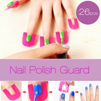 Wholesale Nail Polish Case Cover - 26Pc Nail Polish Shield Clip French Nail Art Manicure Stickers Tips Finger Cover Protector Plastic Case Salon Tools Set 2017 New